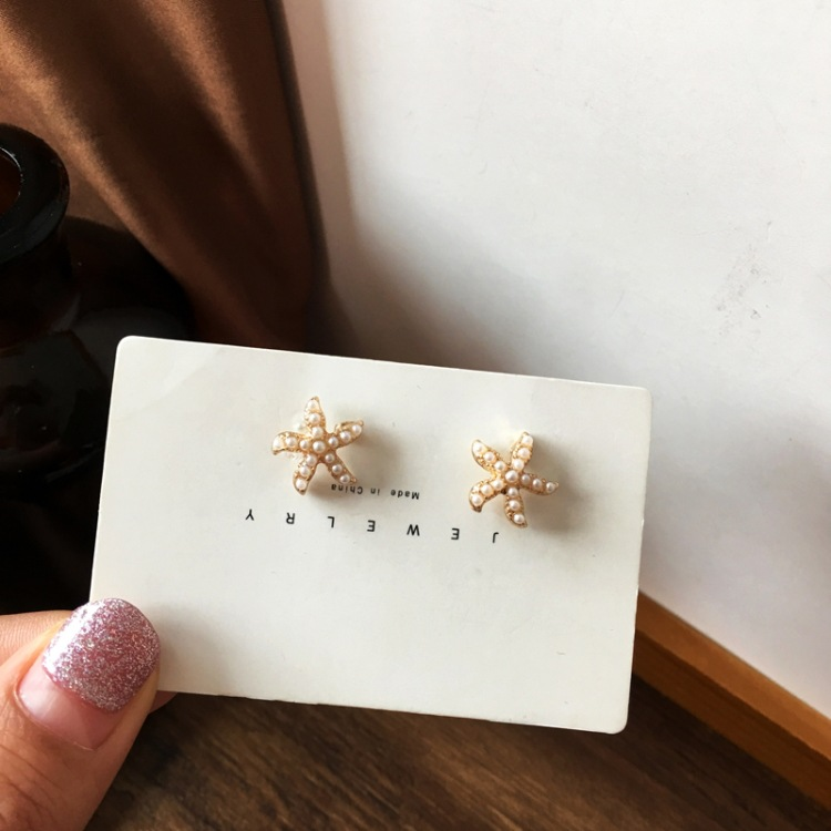 Fashion starfish pearl earrings wholesale NHBY332726