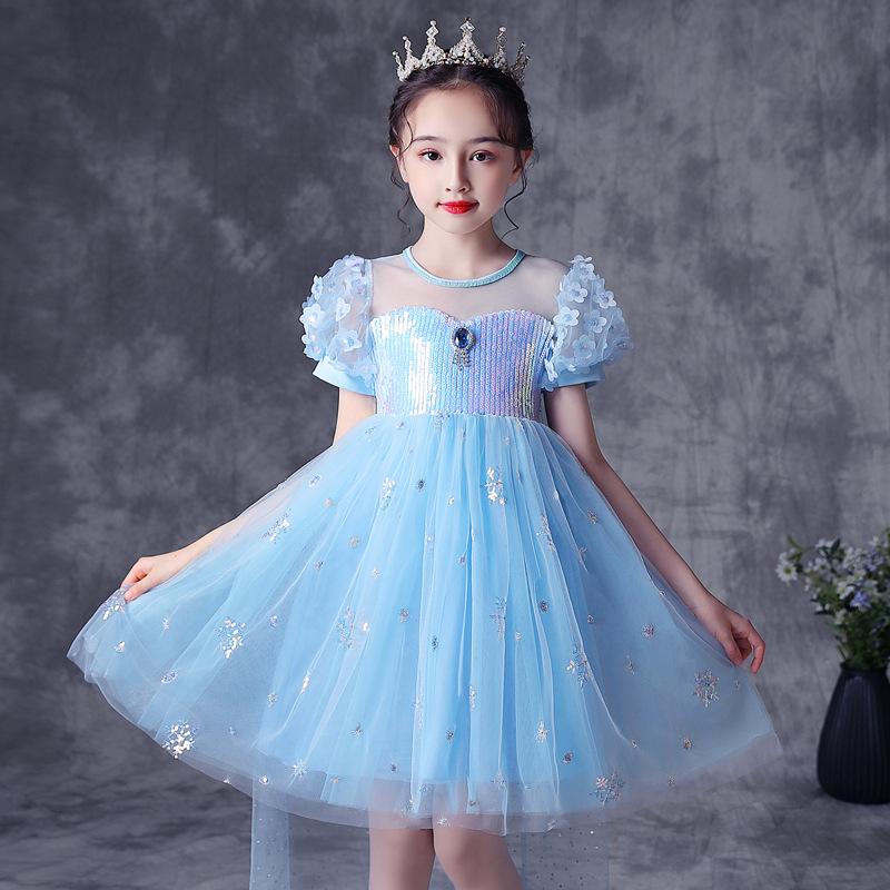 新款冰雪风夏季亮片艾莎裙子2021爱莎公主裙女童蓬蓬纱裙一件代发