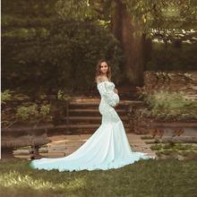 歐美女裝蕾絲拼接雪紡拖尾裙V領長袖連衣長裙攝影孕婦拖尾裙1127