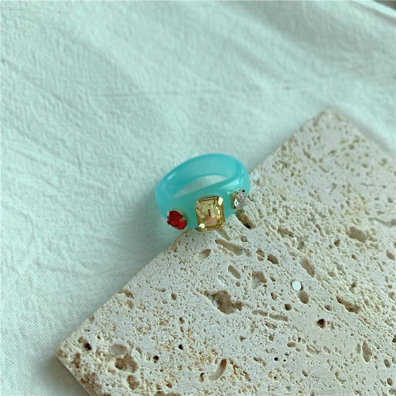 Korean fashion cute gemstone acrylic resin ring NHYQ301213
