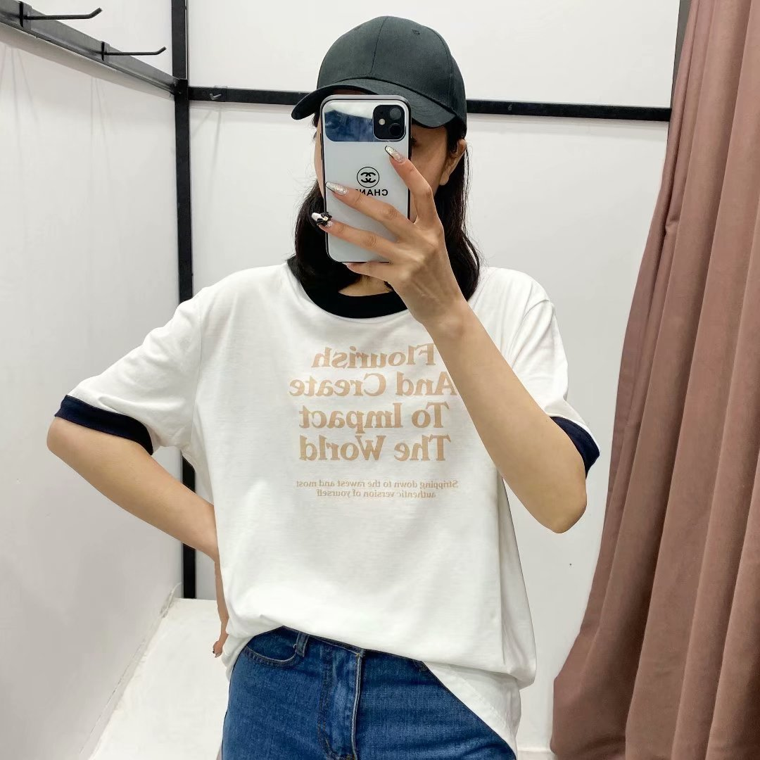 wholesale letter printing loose Tshirt  NHAM327311