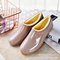 跨境外贸四季低帮工作水鞋女元宝鞋浅口加绒保暖雨鞋低筒防滑胶鞋