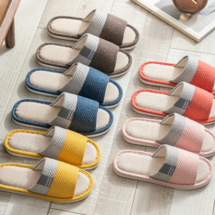 New Four Seasons Home Furnishing Japanese Style Linen Slippers Indoor Opening Men and Women Lovers Wood Floor Cotton Linen Factory Wholesale