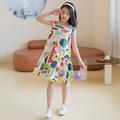 女童连衣裙2021夏韩版童装女孩卡通涂鸦田园天丝公主背心裙中大童