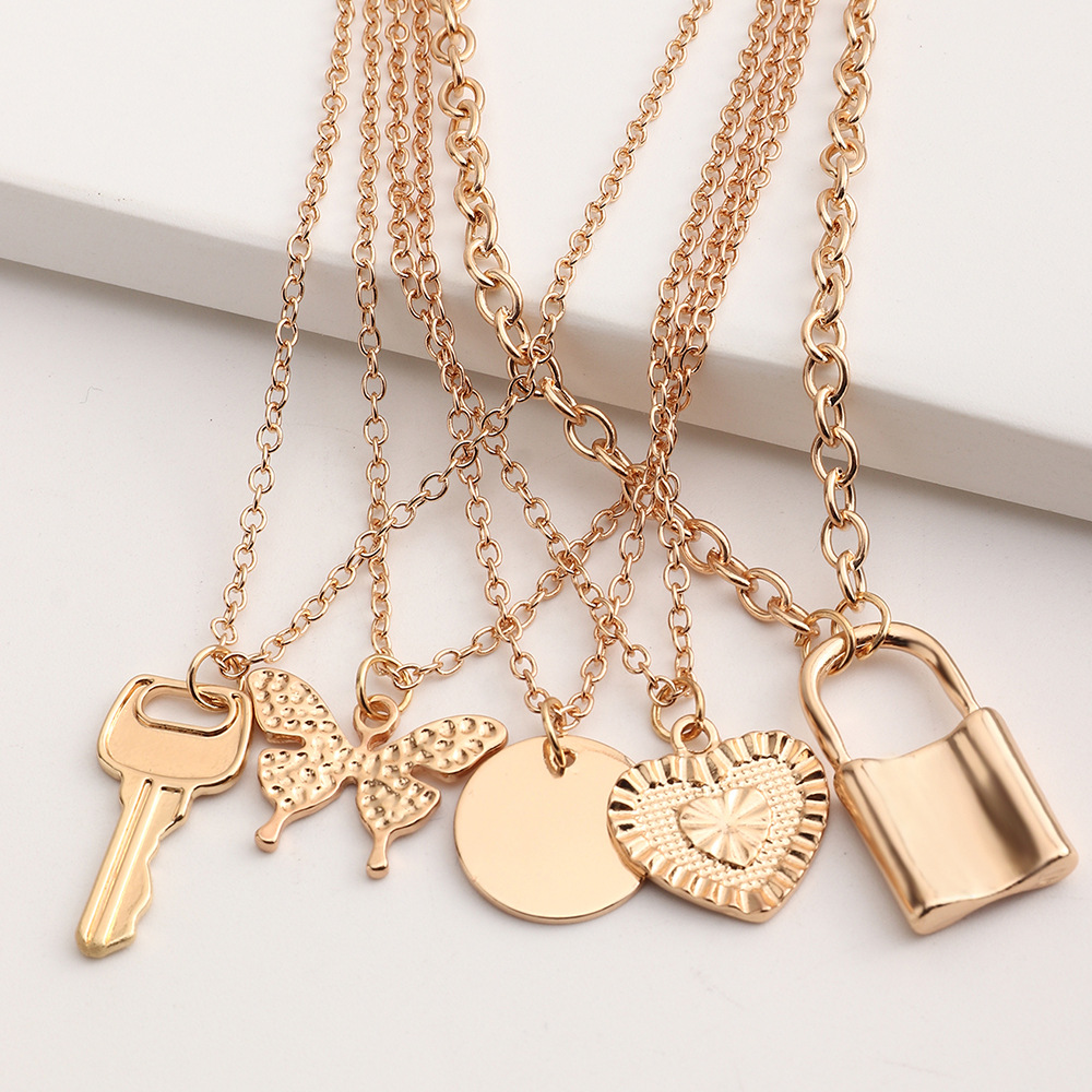 Fashion Stacked Multilayer Geometric Pendent Necklace  NHNZ367410