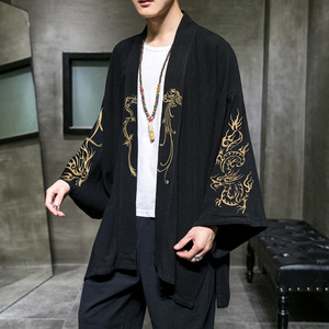Chinese men Japanese cotton and linen embroidered cardigan men kimono tops