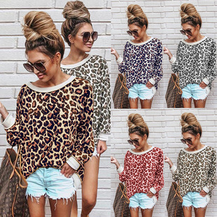 Cross-border new product supply 5 colors 2020 spring and autumn sexy leopard print round neck long-sleeved blouse 100230