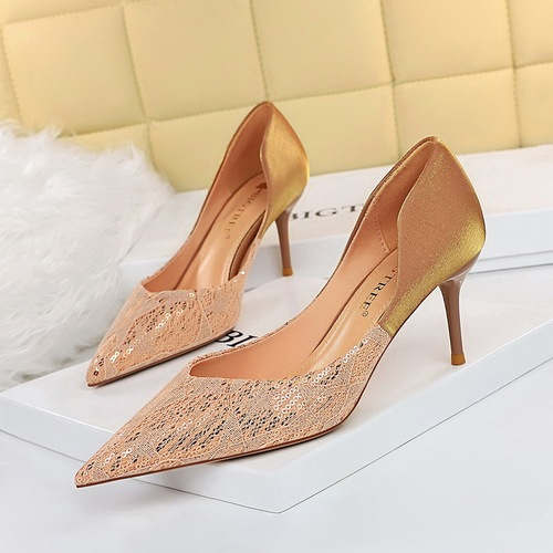 8999-8 European and American wind sexy party shoes high heels with hollow out shallow mouth pointed stitching single sequined cloth shoes