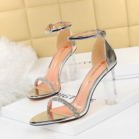 322-1 the European and American wind sexy club summer with ultra high heels transparent with suede diamond one word with sandals