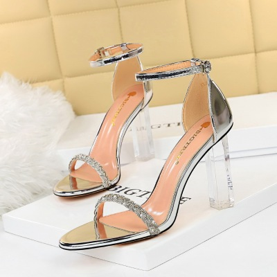 322-1 the European and American wind sexy club summer with ultra high heels transparent with suede diamond one word with