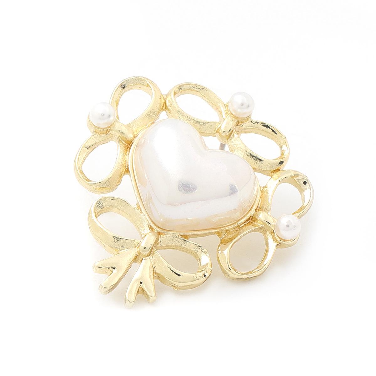 Korean bow lace alloy inlaid pearl heartshaped earrings NHJE345724