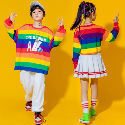 Children rainbow striped hip-hop street jazz dance costumes for boys girls school model show competition modern hiphop performance outfits