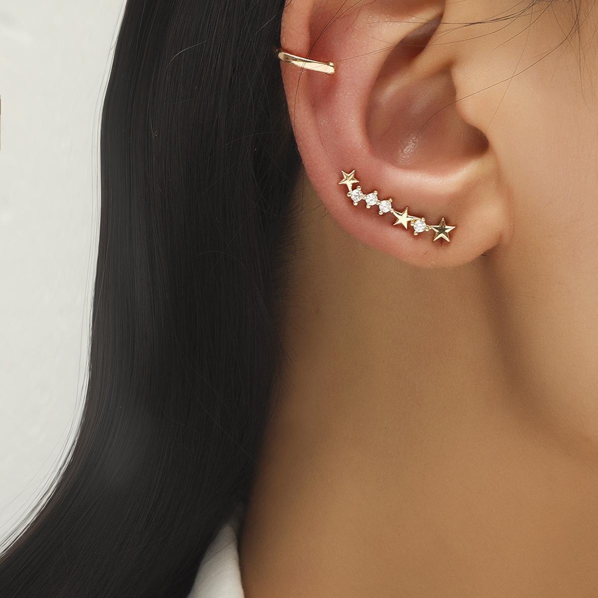 simple geometric pearl zircon earrings set NHDP326625