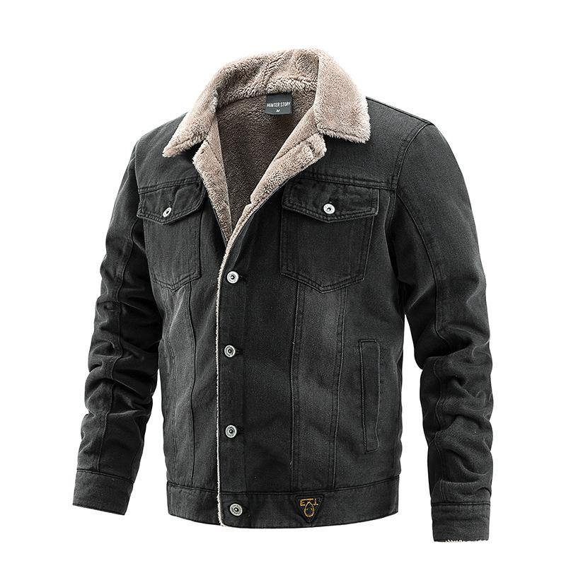 跨境亚马逊男士牛仔外套秋冬夹克男装加绒保暖休闲工装欧美时尚潮