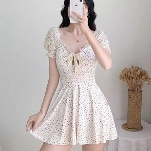 Korean ins wind one-piece skirt is thin, covering belly, small breasts gather wave dots girls small fresh hot spring swimsuit women