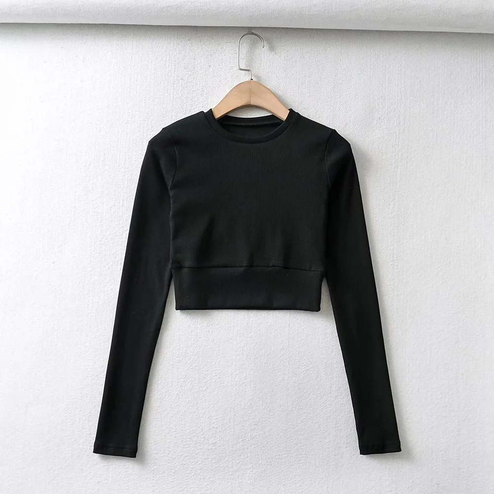 knitted solid color sports T-shirt  NSAC26300