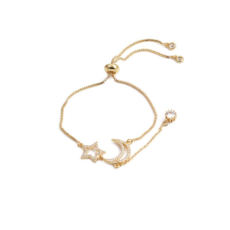 golden zircon moon and stars adjustable bracelet  NHYL348745