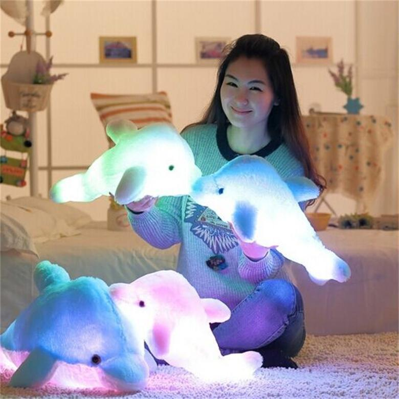 New Luminous Dolphin Pillow Children's Bed Plush Toys Doll Color Dolphin Doll Birthday Gift