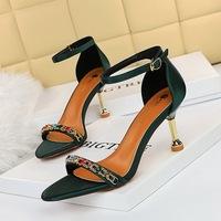 Han edition sexy summer 1327-1 female high-heeled shoes heel high-heeled silk metal chain diamond one word with sandals