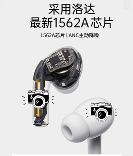Huaqiangbei steel shell button battery three-generation Yuehu Luoda 1562a Bluetooth headset ANC noise reduction is suitable for Apple