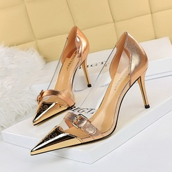 7818-2 European and American fashion sexy nightclub women's shoes transparent hollow shallow pointed metal belt buckle high heel single shoes
