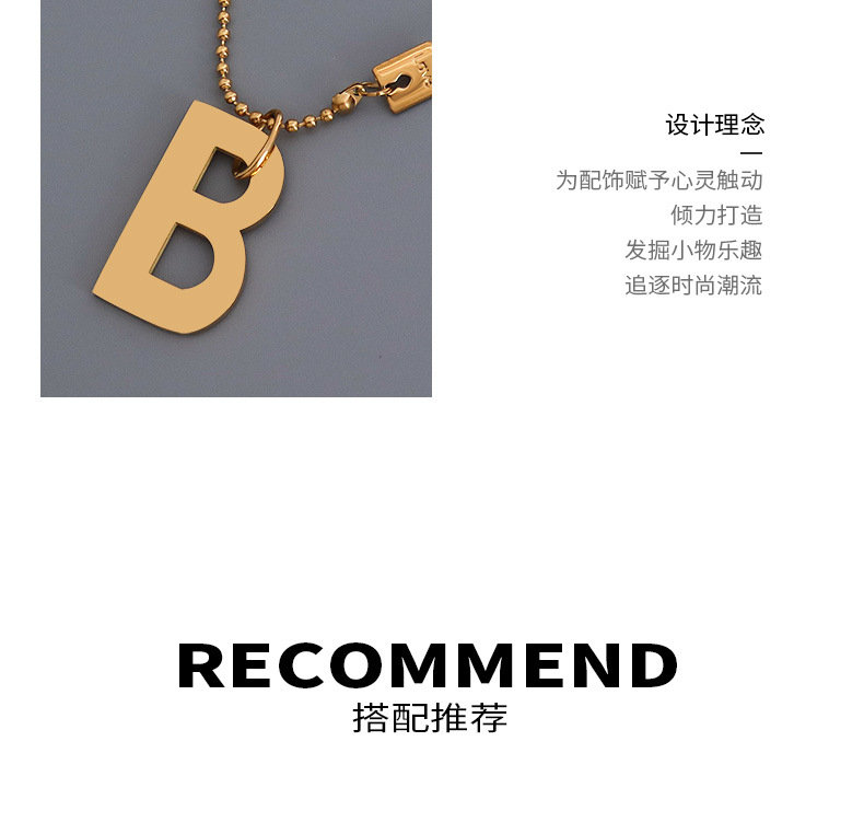 Simple B letter titanium steel necklace wholesale NHOK336306
