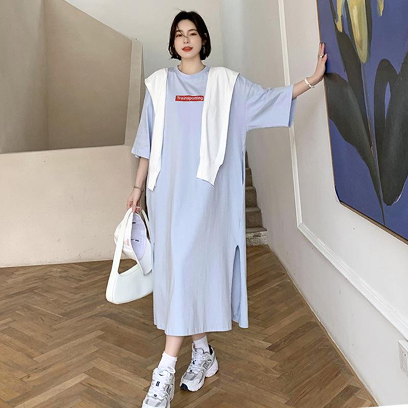 夏装新款韩版中长款大码宽松短袖过膝T恤裙女前后印花开叉连衣裙