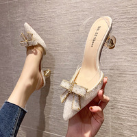 6111-2 in Europe and the sexy pointed bowknot heels web celebrity diamond transparent belt for women's shoes sandals hollow out a word