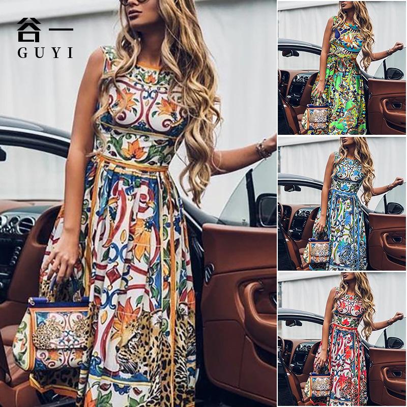 欧美夏日新款连衣裙 2021跨境亚马逊速卖通印花无袖修身休闲裙子