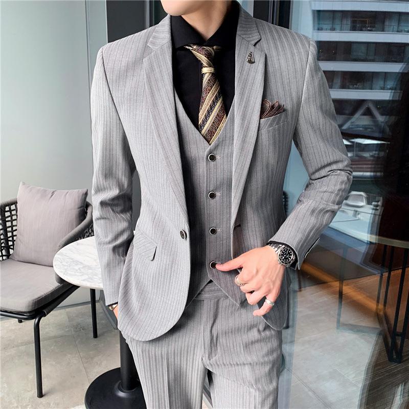 条纹西服套装男西装男士商务休闲职业装修身新郎伴郎结婚三件套