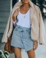 2021 欧美外贸牛仔时尚潮流不规则半身裙斜扣毛边包臀牛仔短裙女