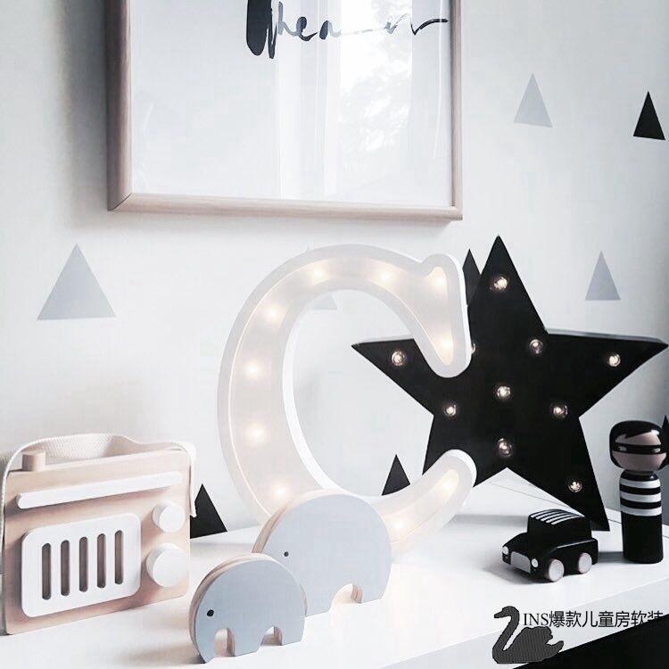 INS 26个英文大写字母木质LED灯儿童房装饰手工小夜灯喂奶灯