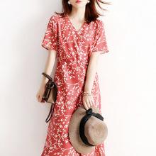 日系輕奢2021夏季新款女裝赫本風可鹽可甜碎花V領短袖高腰連衣裙