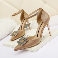 6222-6 han edition style light pointed mouth high-heeled shoes diamond square buckle a word with sandals with sexy OL for women's shoes