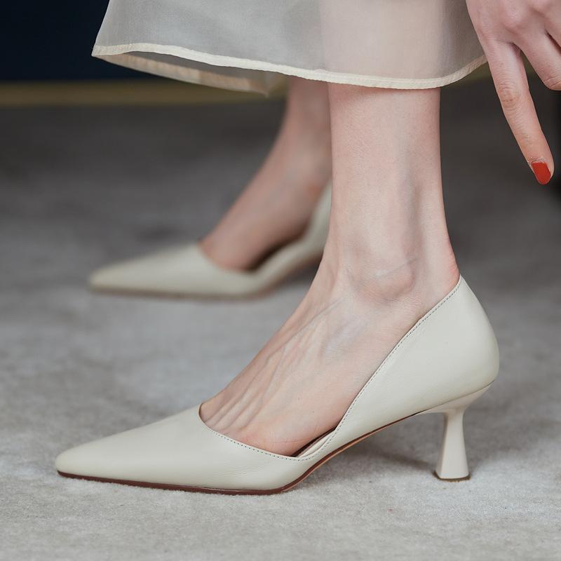 全皮大小码可退优雅通勤2021春夏新款牛皮OL尖头细高跟侧空单鞋女