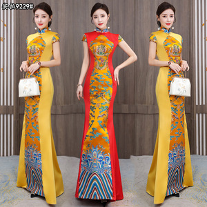 Long Chinese dresses dragon pattern evening dress annual meeting host model catwalk Chinese style cheongsam stage costume