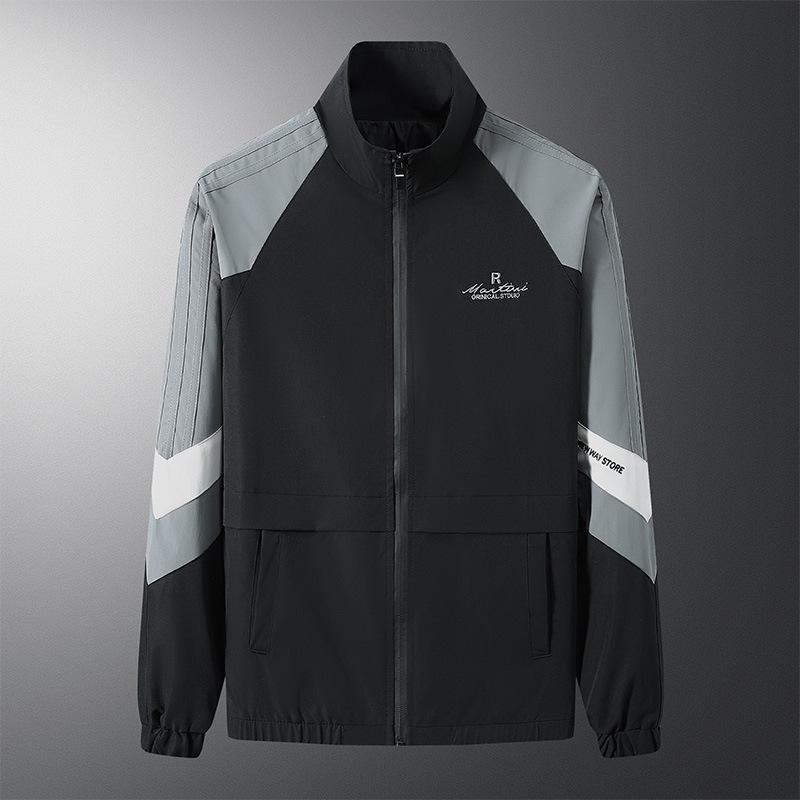运动外套男春秋新款立领开衫长袖上衣休闲夹克薄款修身时尚上衣
