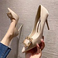 6888-10 han edition fashion tip diamond heels web celebrity fairy wind show thin thin women's shoes and party shoes