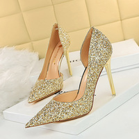 3165-2 the European and American fashion sexy nightclub show thin fine with high heels shallow pointed mouth side hollow out dazzling sequins single shoes