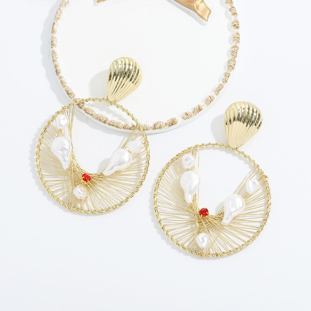 Bohemian gold wire mesh pearls earring NHJQ323524