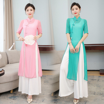 Ao Dai Chinese dress retro oriental Qipao Chinese style stage performance cheongsam Dance zen dance clothes tea clothes