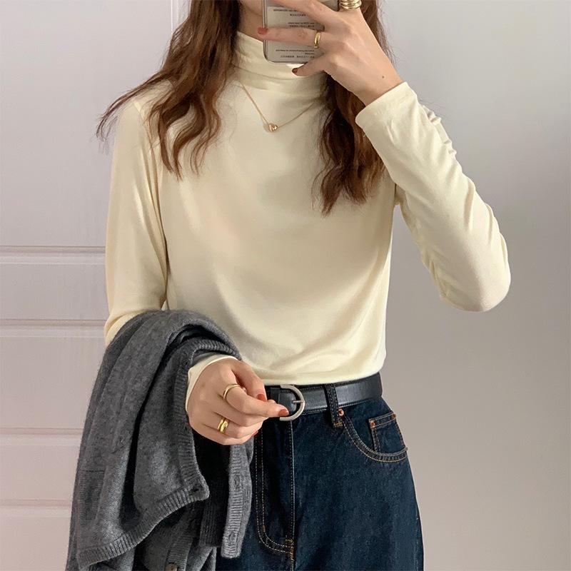 高领打底衫女秋冬新款韩版潮ins修身显瘦学生纯色内搭少女长袖T恤