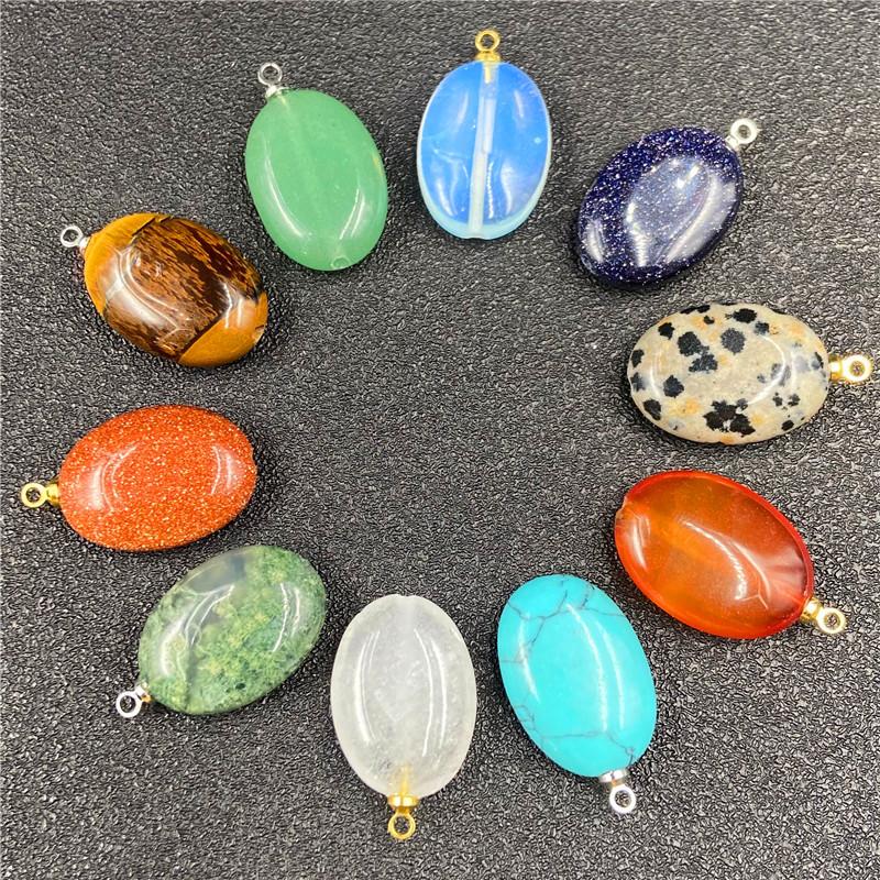 Crystal Agate Danshaped Multicolor Pendant Oval DIY Stone Pendant Accessories NHJIC356030