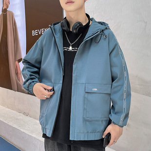 On behalf of the new men's jacket autumn 2021 new hooded trend men's handsome tide brand color matching autumn jacket
