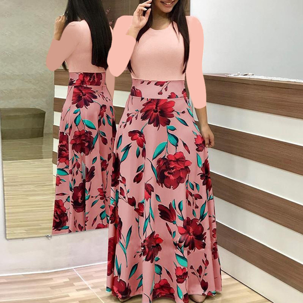 new flower print color matching dress  NSYF58572