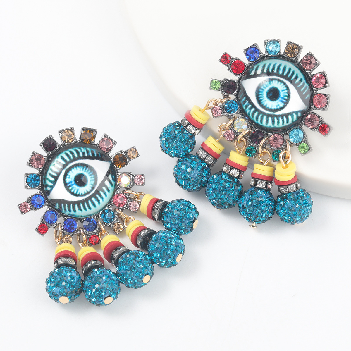 alloy diamond resin eyes earrings NHJE316656