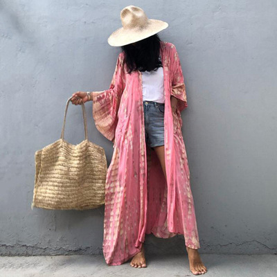 Printed cotton beach long blouse dress for Women sexy  long cardigan plus size holiday sun protection shirt with hat beach bikino cover dress