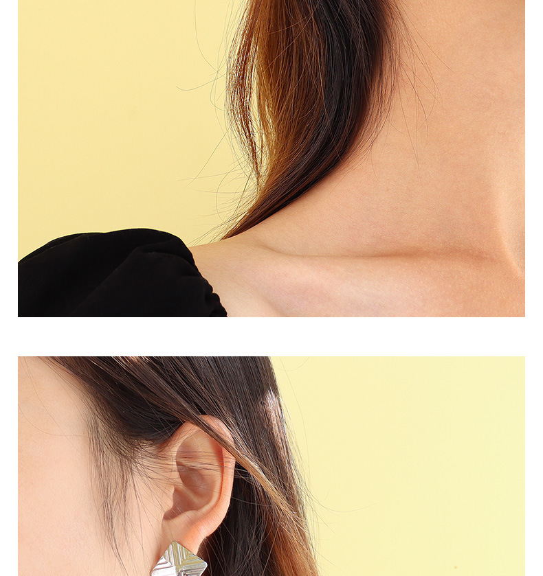 Korea simple Square Pattern Stud Earrings  NHOK307894