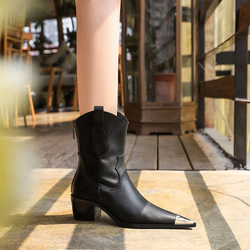 009-2 in Europe and the winter wind restoring ancient ways with wood grain with thick with high metal point steel-toed boots knight boots boots
