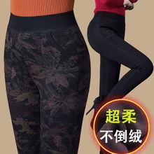 冬季中老年加絨加厚外穿打底褲媽媽棉褲高腰彈力保暖花色中年女褲